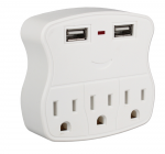 This power strip provides 5-outlets from standard 2-outlets wall socket. It has standard 3-AC 3-prong outlets and 2-USB charging outlets. Connect your computers peripherals and other office equipment. The USB ports provide up to 1Amp for each port and ca