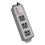 Waber Power Strip Metal 5-15R 3 Outlet 5-15P 6 feet Cord - Power distribution strip - 15 A - AC 120 V - input: NEMA 5-15 - output connectors: 3 ( NEMA 5-15 ) - 6 ft - black blue gray