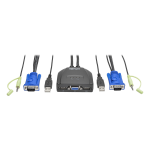 2PORT USB/VGA CABLE KVM SWITCH WITH AUDIO CABLES AND USB PERIPHERAL SHARING