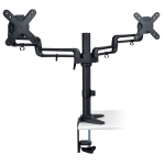 Dual Display Flex Desk Mount Clamp 13 inch to 27 inch EA - Mounting kit (desk clamp mount pole 2 dual articulating arm 2 interface plates) for 2 LCD displays (full-motion) - steel - black - screen size: 13 inch -27 inch - desktop
