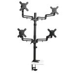 Quad Full-Motion Display Flex Arm Desk Mount Monitor Stand Clamp 13 inch to 27 inch EA - Mounting kit (desk clamp mount, pole, 4 dual articulating arm, 4 interface plates) for 4 LCD displays (Full-Motion) - steel - black - screen size: 13 inch -27 inch -