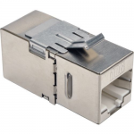 Cat6a Straight Through Modular Shielded In Line Coupler RJ45 F/F - Network coupler - RJ-45 (F) to RJ-45 (F) - STP - CAT 6a - 90 connector down-angled connector - silver - TAA Compliant