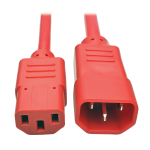 2ft Heavy Duty Power Extension Cord 15A 14 AWG C14 to C13 Red 2 - Power extension cable - IEC 60320 C14 to IEC 60320 C13 - 2 ft - red