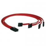 3ft Internal SAS Cable 4-Lane Mini-SAS SFF-8087 to 4x SATA 7Pin 3 feet - SATA / SAS cable - 4-Lane - 7 pin SATA (F) to 36 pin 4i Mini MultiLane (M) - 3 ft - red
