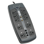 Protect It! 10-Outlet Surge Protector 8-ft. Cord 3345 Joules Tel/Modem/Coaxial Protection - Surge protector - 15 A - AC 120 V - 1800 Watt - output connectors: 10 - 8 ft - black