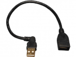Lite USB A/A Extension Cable (USB-A Left-Angle M to USB-A F) 10-in. - USB - Extension Cable - 10 inch - 1 x Type A Male USB - 1 x Type A Female USB - Black