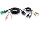 USB KVM Cable - HD-15 Male Type A Male USB Mini-phone Male Stereo - SPHD-15 Male Mini-phone Male Stereo - 9.84ft - Black