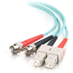 1m SC-ST 10Gb 50/125 OM3 Duplex Multimode PVC Fiber Optic Cable (USA-Made) - Aqua - Patch cable - ST multi-mode (M) to SC multi-mode (M) - 1 m - fiber optic - 50 / 125 micron - OM3 - aqua