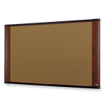 Wide-screen Style Bulletin Board - 48 inch Height x 72 inch Width - Mahogany Cork Surface - Mahogany Wood Frame
