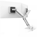 MXV Desk Dual Monitor Arm with Top Mount C-Clamp - Desk mount for 2 monitors - steel - white - screen size: up to 24 inch