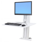 WorkFit-SR Dual Monitor Standing Desk Workstation - Desk mount for LCD display / keyboard / mouse - aluminum - white - screen size: up to 24 inch