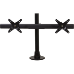 Dual LCD Monitor Desk Stand - 16 inch pole - Black - Clamp Mount - Dual