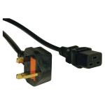 8ft Computer Power Cord UK Cable C19 to BS-1363 Plug 13A 8 - Power cable - BS 1363 (M) to IEC 60320 C19 - AC 250 V - 8 ft - molded - black