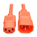 2ft Heavy Duty Power Extension Cord 15A 14 AWG C14 C13 Orange 2 - Power cable - IEC 60320 C14 to IEC 60320 C13 - 250 V - 15 A - 2 ft - molded - orange