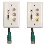 Easy Pull Type-A VGA Connector Kit Wall Plate RCA Audio-Composite Video F/F - Mounting plate - HD-15 RCA X 3 mini-phone stereo 3.5 mm - 1-gang (pack of 2)