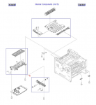 Position guide assembly - Guides the paper along the right side duplex path - Attaches just above power supply
