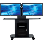 Display Stand - Up to 55 inch Screen Support - 375 lb Load Capacity - 1 x Shelf(ves) - Locking Door - 42 inch Height x 76 inch Width x 31 inch Depth - Glass Steel