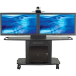 Display Stand - Up to 65 inch Screen Support - 375 lb Load Capacity - 1 x Shelf(ves) - Locking Door - 32 inch Height x 76 inch Width x 31 inch Depth - Glass Steel - Black