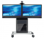 Display Stand - Up to 65 inch Screen Support - 350 lb Load Capacity - 1 x Shelf(ves) - 62 inch Height x 45 inch Width x 24 inch Depth - Powder Coated - Glass Steel - Two-tone