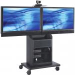 Display Stand - Up to 55 inch Screen Support - 1 x Shelf(ves) - Locking Door - 60.5 inch Height x 33.5 inch Width x 23.5 inch Depth - Glass Steel