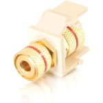 Snap-In Red Banana Jack F/F Keystone Insert Module - White - Banana Plug