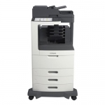 MX812DTPE Laser Multifunction Printer - Monochrome - Plain Paper Print - Floor Standing - Copier/Fax/Printer/Scanner - 70 ppm Mono Print - 1200 x 1200 dpi Print - 70 cpm Mono Copy - 10.2 inch Touchscreen - 600 dpi Optical Scan - Automatic Duplex Print - 1