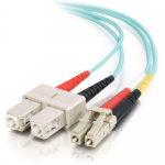2m LC-SC 10Gb 50/125 OM3 Duplex Multimode Fiber Optic Cable - Low Smoke Zero Halogen LSZH - Aqua - Patch cable - LC multi-mode (M) to SC multi-mode (M) - 2 m - fiber optic - 50 / 125 micron - OM3 - aqua