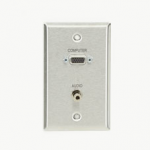 AV STAINLESS STEEL WALLPLATE with (1) VGA F/F (1) 3.5MM F/F
