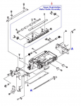 Upper registration roller guide assembly - Includes the steel shaft with four White rollers mounted in a support frame - Mounts in the lower center of the ADF main assembly