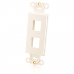 Two Port Keystone Decorative Style Wall Plate - White - Modular insert - white - 2 ports