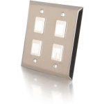 4-Port Double Gang Multimedia Keystone Wall Plate - Stainless Steel - 4 x Socket(s) - 2-gang