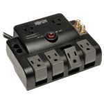 Surge Protector 120V 6 Outlet Rotating RJ11 Coax 6 Cord - Surge protector - 15 A - AC 120 V - output connectors: 6 - black