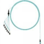 Network cable - PanMPO multi-mode (M) to LC multi-mode (M) uniboot staggered pairs 1 and 2 shortest breakouts - 6.71 m - fiber optic - 50 / 125 micron - OM4 - indoor plenum round - aqua