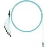 Network cable - PanMPO multi-mode (M) to LC multi-mode (M) uniboot staggered pairs 1 shortest breakout - 3.05 m - fiber optic - OM4 - plenum round - aqua
