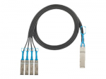 Breakout Copper Cable Assemblies - Direct attach cable - SFP+ to QSFP+ - 3.3 ft - twinaxial - black