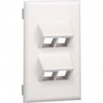 NetKey Snap-on Vertical Sloped Faceplate - Faceplate - white - 4 ports