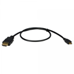 High Speed HDMI to Micro-HDMI with Ethernet 1080p HD Cable - HDMI for Audio/Video Device Tablet PC Cellular Phone Camcorder Camera TV Projector - 14.76 ft - 1 x HDMI (Type A) Male Digital Audio/Video - 1 x HDMI (Micro Type D) Male Digital Audio/Vide