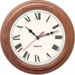 TimeTrax Sync 16in Analog Clock - Walnut Wood Roman Numeral Face - Analog - Quartz