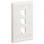 MINI-COM Classic Series Faceplates with Label and Label Cover - Faceplate - electric ivory - 3 ports