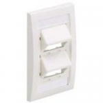 MINI-COM Sloped Executive Series Faceplate Kit - Faceplate - electric ivory - 1-gang - 4 ports