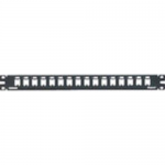 MINI-COM All Metal Shielded Modular Patch Panel - Patch panel - black - 1U - 19 inch - 16 ports