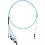 QuickNet PanMPO/MPO - Network cable - PanMPO multi-mode (F) to LC multi-mode (M) 61 cm breakout - 5.49 m - fiber optic - 50 / 125 micron - OM3 - molded plenum flat - aqua