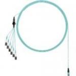 Network cable - PanMPO multi-mode (M) to LC multi-mode (M) uniboot staggered pair 1 longest breakout - 4.57 m - fiber optic - 50 / 125 micron - OM4 - indoor plenum round - aqua
