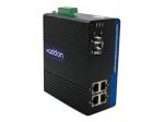 100Mbs 4 RJ-45 to 1 FC Industrial Media Converter - Fiber media converter - Fast Ethernet - 10Base-T 100Base-TX 100Base-LX - RJ-45 / FC single-mode - up to 12.4 miles - 1310 nm