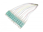 THIS IS A 3M SPLICE 12-STRAND MULTICOLORED RISER-RATED FIBER PIGTAIL CABLE. AN O