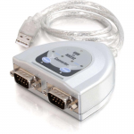2ft USB to 2-Port DB9 Serial Adapter Cable - Type A Male USB DB-9 Male Serial - 2ft - Gray