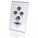 Audio/Video Faceplate - 1-gang - Stereo Audio Line Out Mini-phone Audio HD-15 VGA Composite Video Out