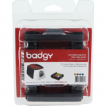 BADGY 200 CONSUMABLE PACK FOR 100 PRINTS INCLUDING: YMCKO COLOR RIBBON THICK 30MIL PVC CARDS 100 COUNT