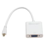 Multimedia IO Crest Micro HDMI Male to VGA Female Adapter - HDMI/VGA for Video Device - 6.40 inch - 1 x HDMI (Micro Type D) Male Digital Audio/Video - 1 x HD-15 Female VGA - White
