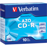 AZO CD-R 700MB 52X DataLifePlus with Branded Surface - 10pk Slim Case - 120mm - 1.33 Hour Maximum Recording Time